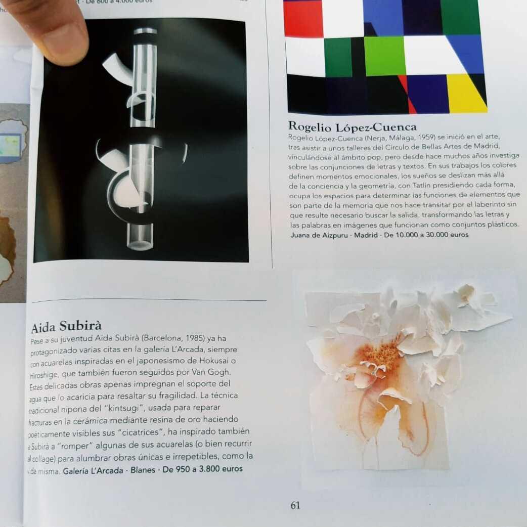 Publicación de la exposición de la artista Aida Subirà en la revista Tendencias del Mercado del Arte.