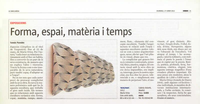 La ceràmica de Maria Oriza en un article de La Vanguardia